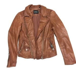 DOMA Biker Brown Leather Jacket/S, XS